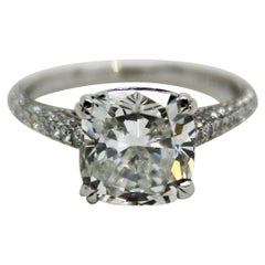 3.08 Carat GIA Certificate G Color Cushion Cut Diamond 18 Karat Engagement Ring