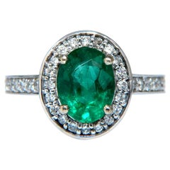 3.08 Carat Natural Vivid Green Emerald Diamonds Halo Ring 14 Karat