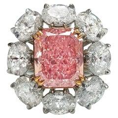 Rare Fancy Pink Flower Diamond Ring GIA Certified 3.08 Carats