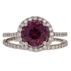 3.08 Carat Umbalite Garnet and Diamond Halo Ring and Wedding Band 14 Karat Gold