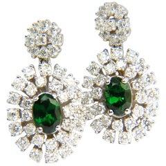 3.08CT Natural Vivid Green Tsavorite Cluster Diamond Dangle Earrings 14KT