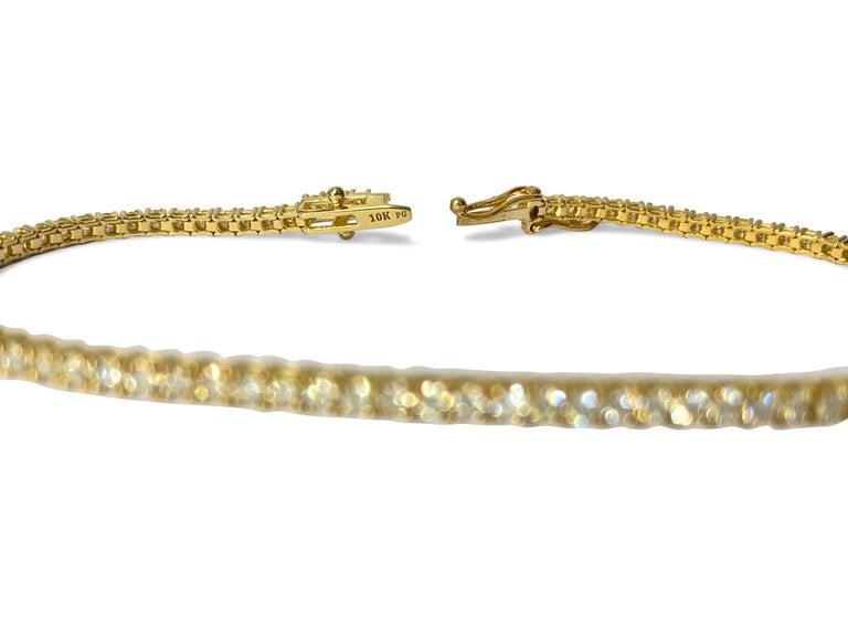 3.08ct VVS Diamond Tennis Bracelet Unisex in 10k Yellow Gold In New Condition For Sale In Miami, FL