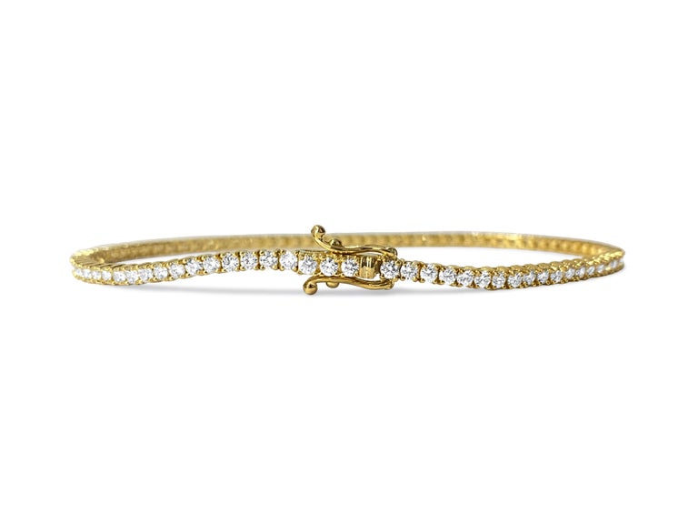Women's or Men's 3.08ct VVS Diamond Tennis Bracelet Unisex in 10k Yellow Gold For Sale