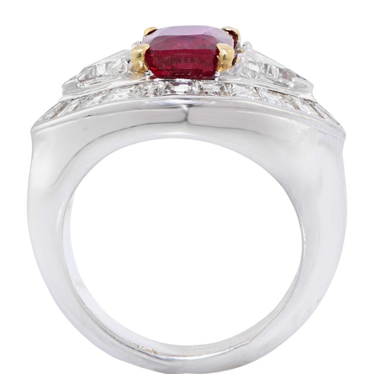 Emerald Cut 3.09 Carat AGL Graded Burma Ruby and Diamond Ring For Sale