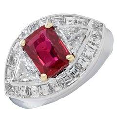 3.09 Carat AGL Graded Burma Ruby and Diamond Ring