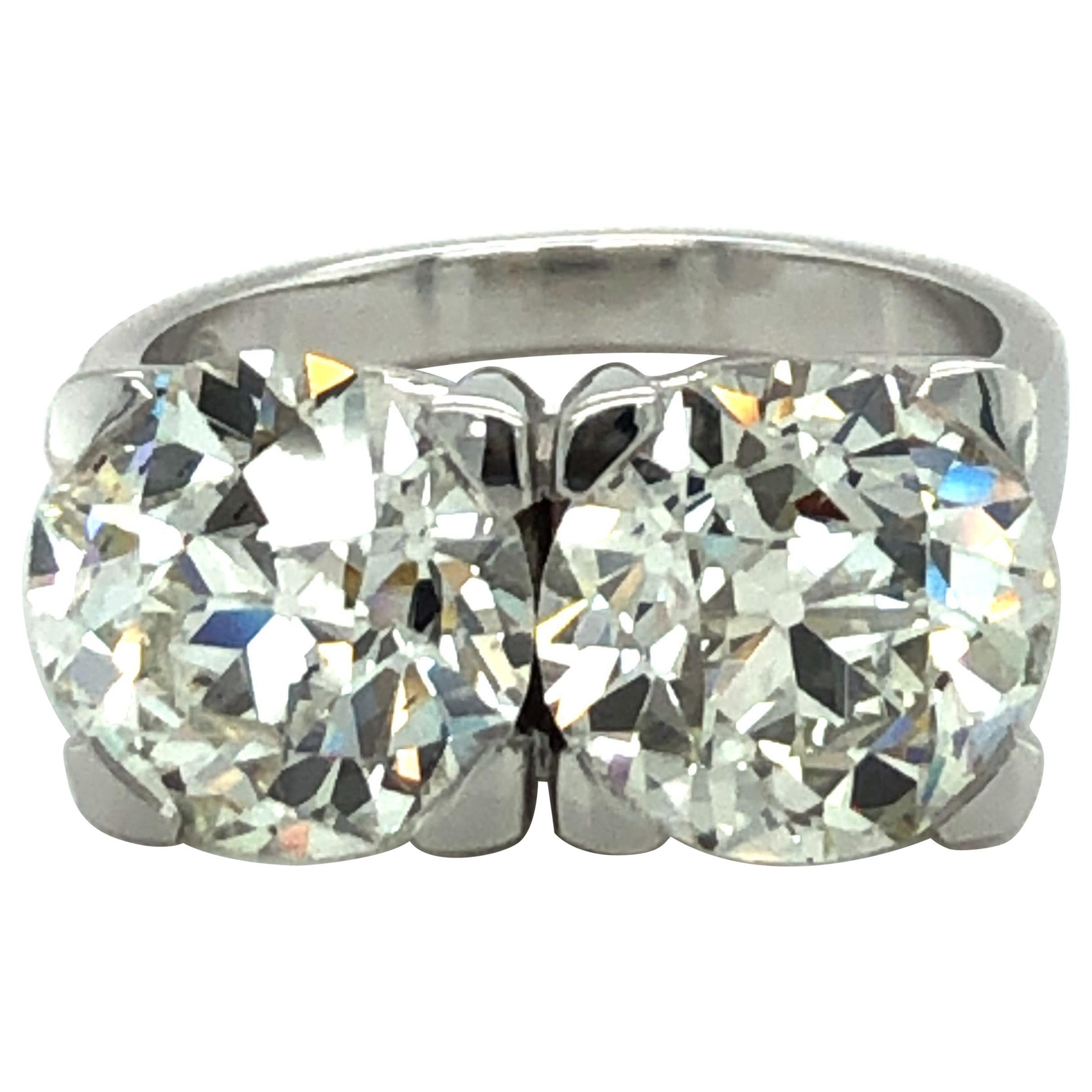 3.09 Carat and 3.11 Ct Old European Cut Diamond Toi Et Moi Ring in 18 Karat Gold
