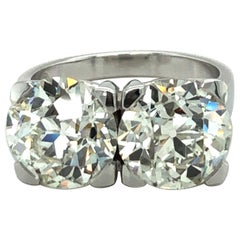 3.09 Carat and 3.11 Ct Old European Cut Diamond Toi Et Moi Ring in 18 Karat Gold