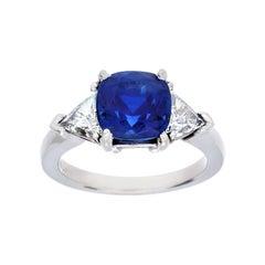 3.09 Carat Burma Sapphire and Diamond 3-Stone Ring, Gubelin Cert, No Heat