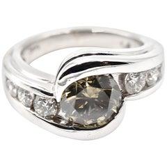 3.09 Carat Fancy Yellow, Green & Grey GIA Diamond 14k White Gold Engagement Ring