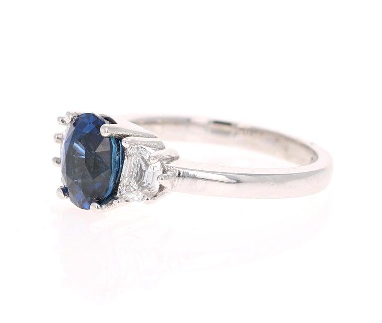 Modern 3.09 Carat GIA Certified Sapphire Diamond 18 Karat White Gold Engagement Ring For Sale