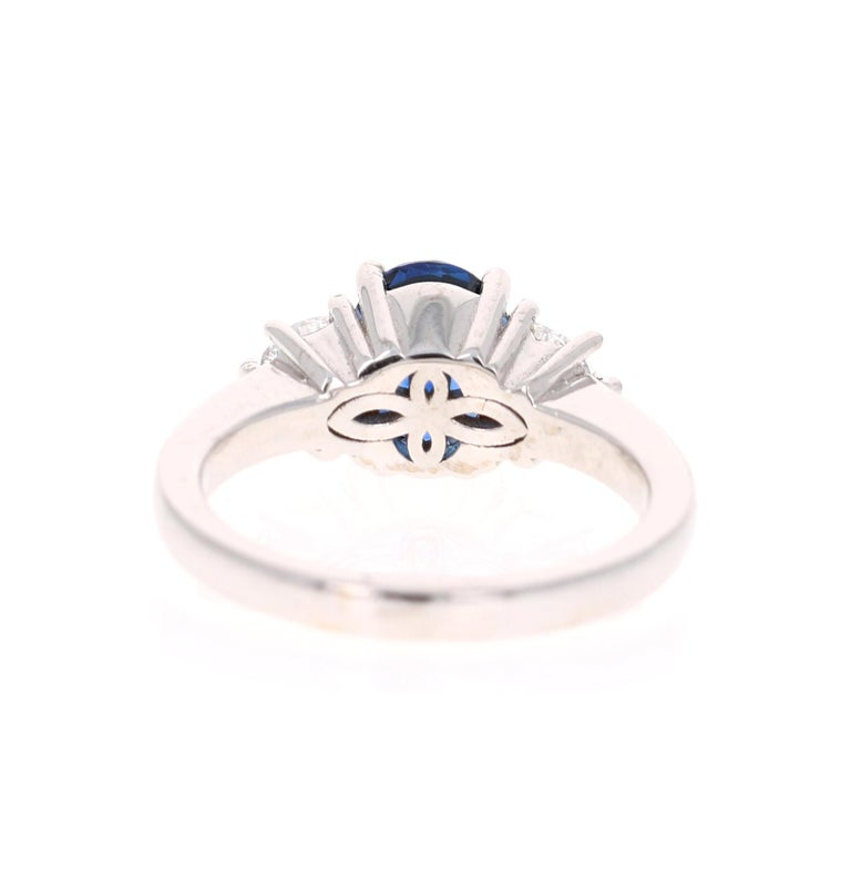 Oval Cut 3.09 Carat GIA Certified Sapphire Diamond 18 Karat White Gold Engagement Ring For Sale