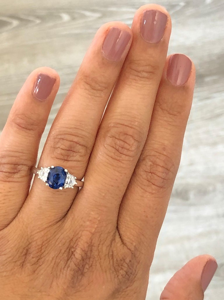 3.09 Carat GIA Certified Sapphire Diamond 18 Karat White Gold Engagement Ring In New Condition For Sale In Los Angeles, CA