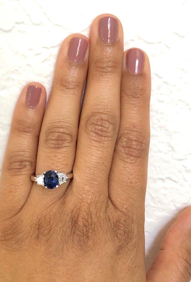 Women's 3.09 Carat GIA Certified Sapphire Diamond 18 Karat White Gold Engagement Ring For Sale