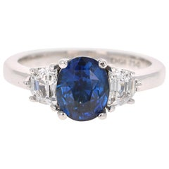 3.09 Carat GIA Certified Sapphire Diamond 18 Karat White Gold Engagement Ring