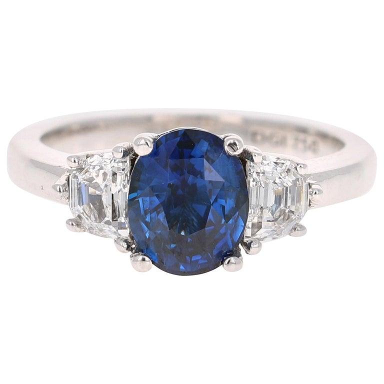 3.09 Carat GIA Certified Sapphire Diamond 18 Karat White Gold Engagement Ring For Sale