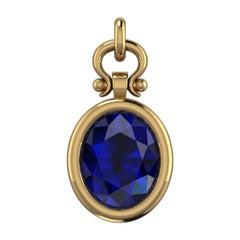 3.09 Carat Oval Cut Blue Sapphire Custom Pendant Necklace in 18k