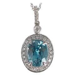 DiamondTown 3.09 Carat Oval Cut Blue Zircon and Diamond Pendant