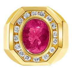 3.09 Carat Oval-Cut Rubellite Tourmaline, Diamonds and 14 Karat Gold Men's Ring