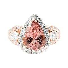 3.09 Carat Pear Pink Morganite 1.29 Carat Round Diamond 18 Carat Cluster Ring