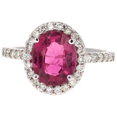 3.09 Carat Pink Tourmaline Diamond 14 Karat White Gold Ring
