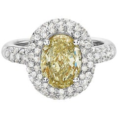 3.09 Carat Yellow Diamond Oval Halo Setting Engagement Ring