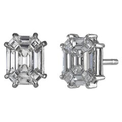 "3.0ct Face Up Emerald Cut ""Illusion"" Pie-Cut Diamond Stud Earrings"