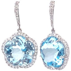 30ct Flower Blue Topaz & White Sapphire Earrings