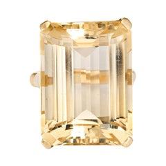 30ct Light Lemon Citrine Ring Emerald Cut Vintage 14k Yellow Gold Big Cocktail