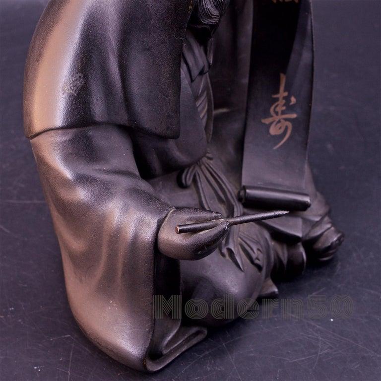Bronze Sculpture Japanese Scholar Scroll Fukurokuju Inlay For Sale 4