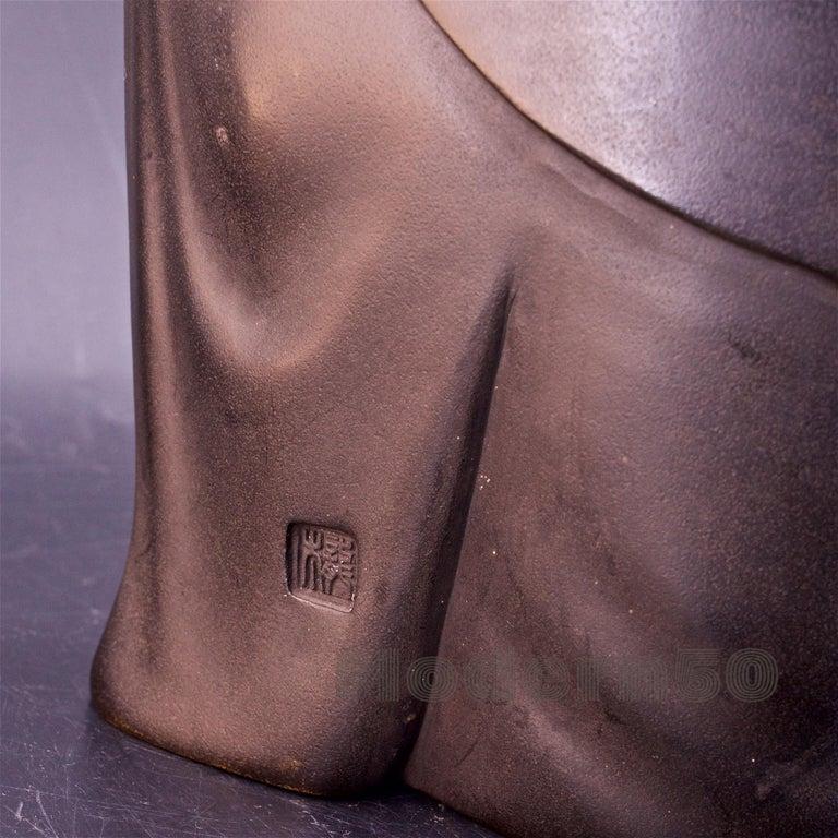 Bronze Sculpture Japanese Scholar Scroll Fukurokuju Inlay For Sale 5