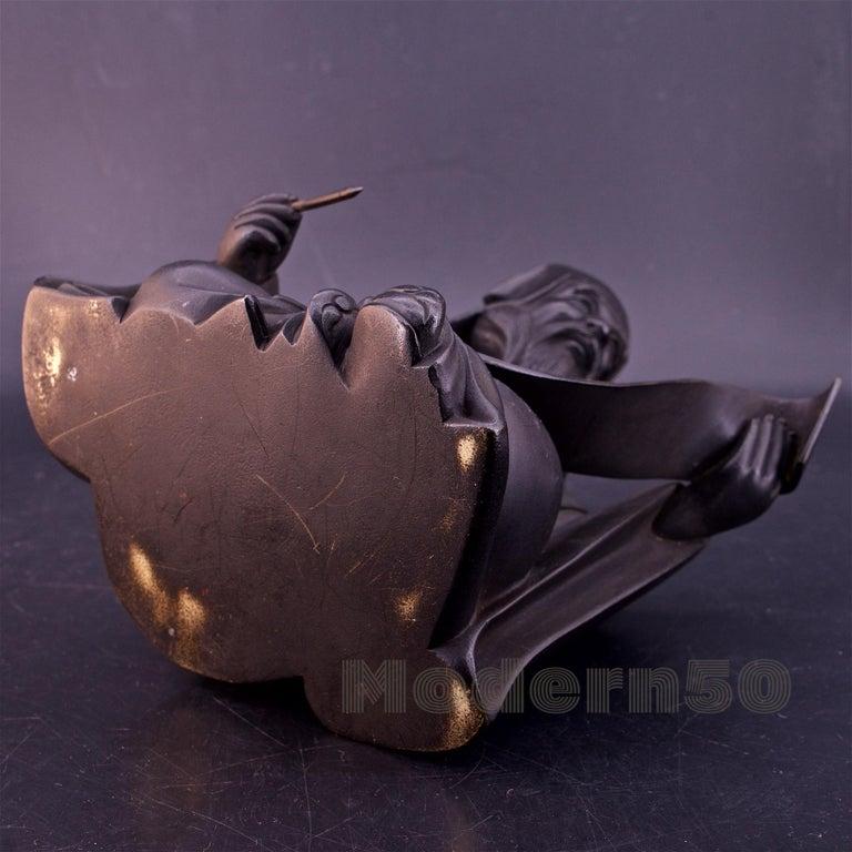 Bronze Sculpture Japanese Scholar Scroll Fukurokuju Inlay For Sale 6