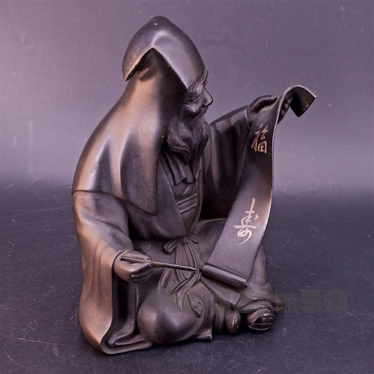 Chinese Export Bronze Sculpture Japanese Scholar Scroll Fukurokuju Inlay For Sale