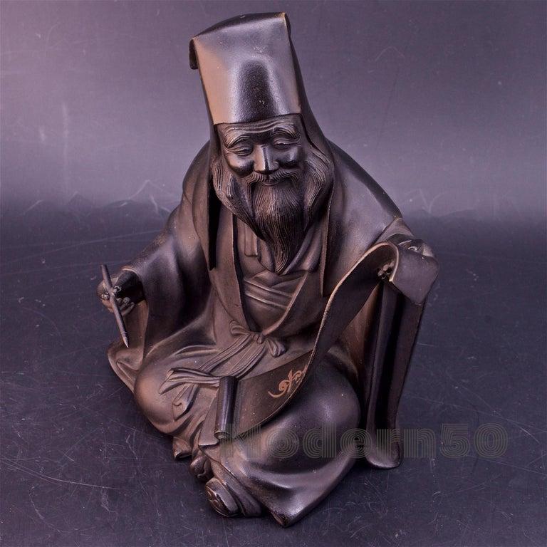 Cast Bronze Sculpture Japanese Scholar Scroll Fukurokuju Inlay For Sale