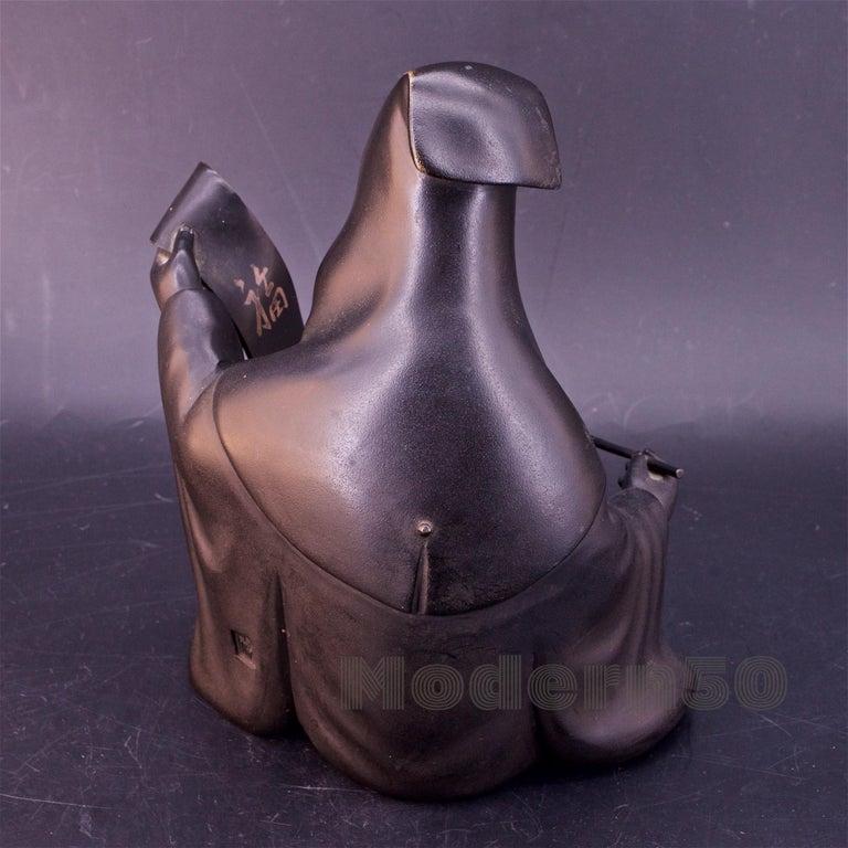 Bronze Sculpture Japanese Scholar Scroll Fukurokuju Inlay In Good Condition For Sale In Washington, DC