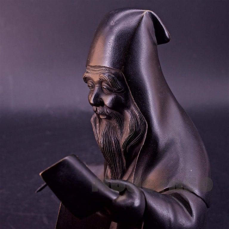 Bronze Sculpture Japanese Scholar Scroll Fukurokuju Inlay For Sale 1