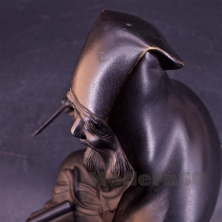 Bronze Sculpture Japanese Scholar Scroll Fukurokuju Inlay For Sale 2