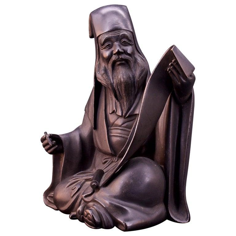 Bronze Sculpture Japanese Scholar Scroll Fukurokuju Inlay For Sale