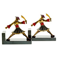 1930s Deco Ronson Samurai Bookends