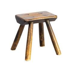 1930s Oak Wooden Stool