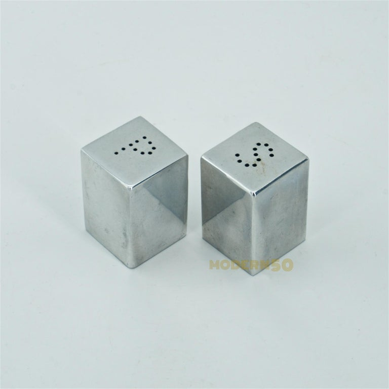 1930s Amazing minimalist tall cube salt and pepper shakers, they hold simplistic light and shadows like his paintings. Really neat little things, and threaded caps to bottoms.