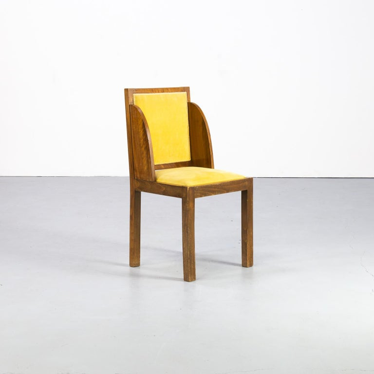 Fabric 1930s Rare and Beautiful Art Deco Dining Chair, Set of 6