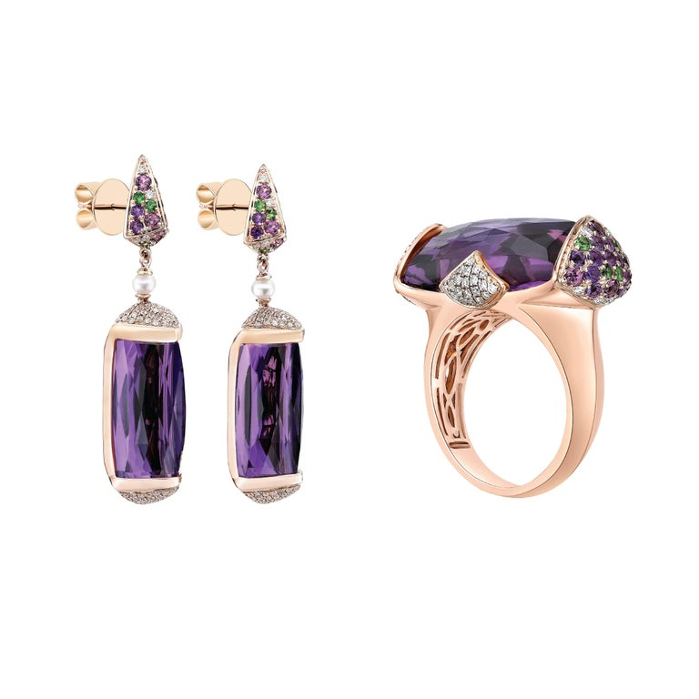 31 Carat Amethyst and Diamond Earring in 18 Karat Rose Gold In New Condition For Sale In Hong Kong, Kowloon