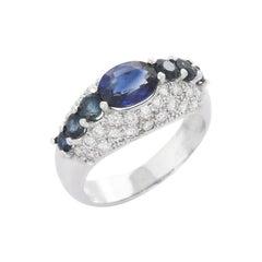 3.1 Carat Blue Sapphire Diamond 18 Karat Gold Ring