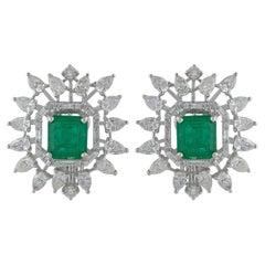 3.1 Carat Diamond 3.87 Carat Emerald 14 Karat Gold Starburst Earrings