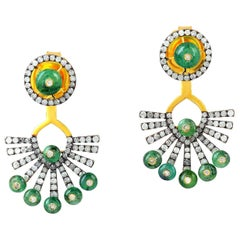 3.1 Carat Emerald Diamond Ear Jackets