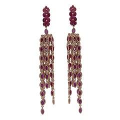 31 Carat Marquise Cut Ruby Fringe Chandelier Earrings in 18k Yellow Gold