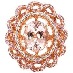 3.1 Carat Morganite and Diamond Ring in 18 Karat Rose Gold