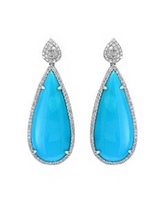 31 Carat Natural Sleeping Beauty Turquoise and Diamond Cocktail Hanging Earring