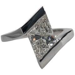 3.1ct Rhombus Lozenge Brilliant Cut Diamond Solitaire Engagement Ring White Gold