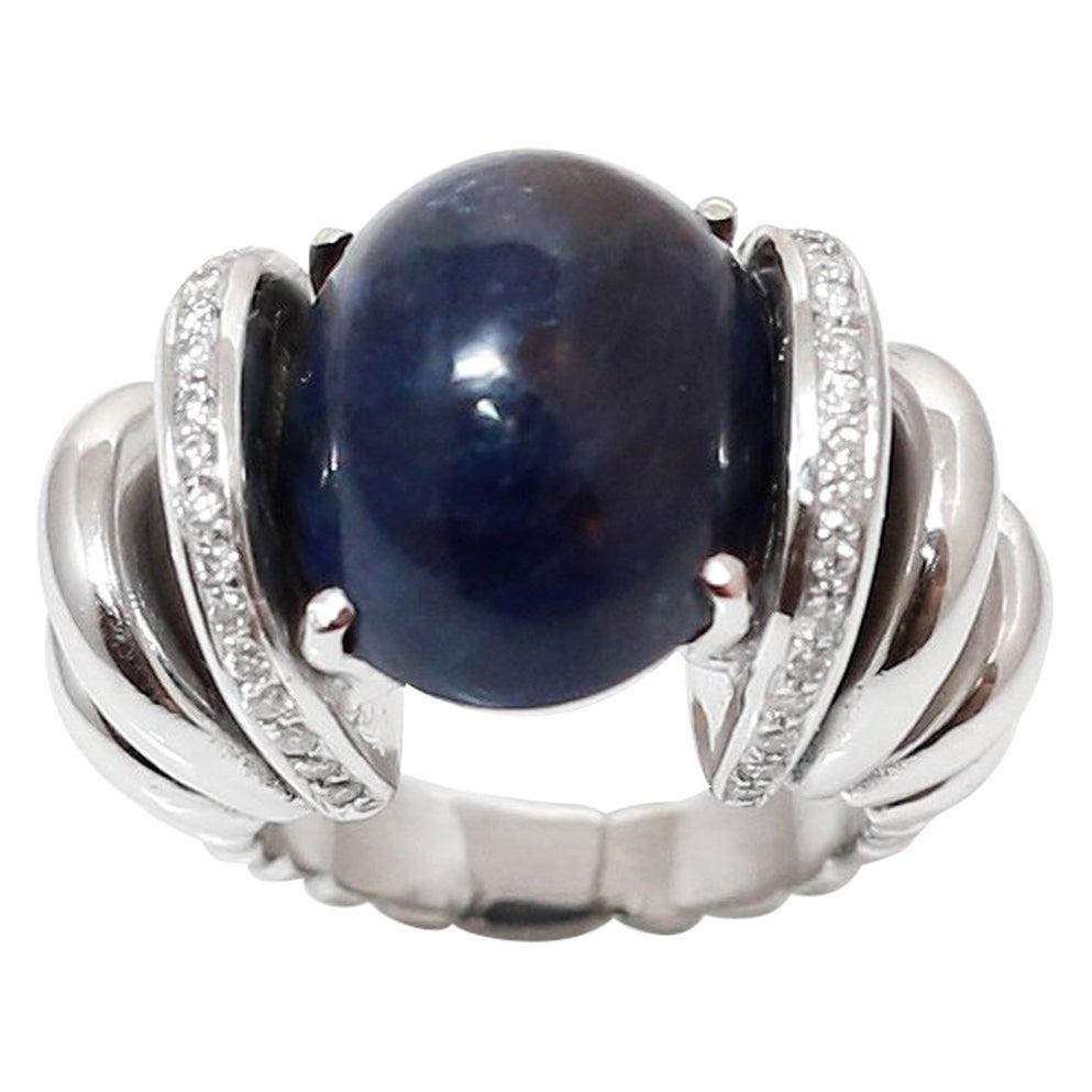 31 Carat Sapphire, Diamonds 18 Karat White Gold Cocktail Ring